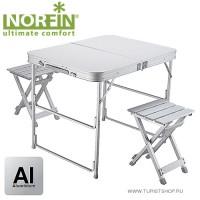 Стол складной туристический Norfin BOREN NF алюминиевый 80x60 + 2 стула набор