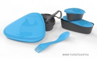 Контейнер для еды с набором посуды LunchKit, цвет: голубой