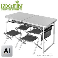 Стол складной Norfin RUNN NF алюминиевый 120x60 + 4 стула набор